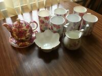 lovely set of pink floral tea service in great condition