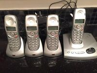 Set of Four BT Home Telephones with Answering machine