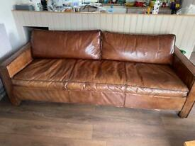 Genuine leather 4 seater sofa - Ramsey style