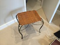 Night stand bedside table living room table metal and wicker, character