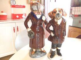 CERAMIC HUNTING DOG COUPLE