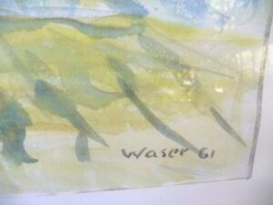 "Heinrich Waser "" Panoramic Landscape"" 1961 Original Watercolor Stratford Kitchener Area image 4"