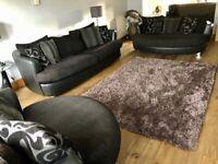 DFS black fabric/leather sofas