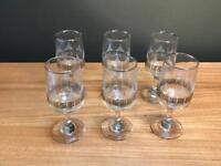 Set of 6 x Vintage Sherry Glasses
