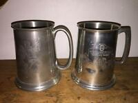 Old pewter tankards