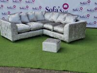 EXCLUSIVE CORNER SOFAS IN SILVER & BLACK CRUSHED VELVET WITH FREE MATCHING FOOTSTOOL & FREE DELIVERY