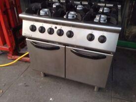 CATERING COMMERCIAL 6 BURNER GAS COOKER WITH OVEN CAFE SHOP CUISINE RESTAURANT KITCHEN CAFE SHOP BBQ