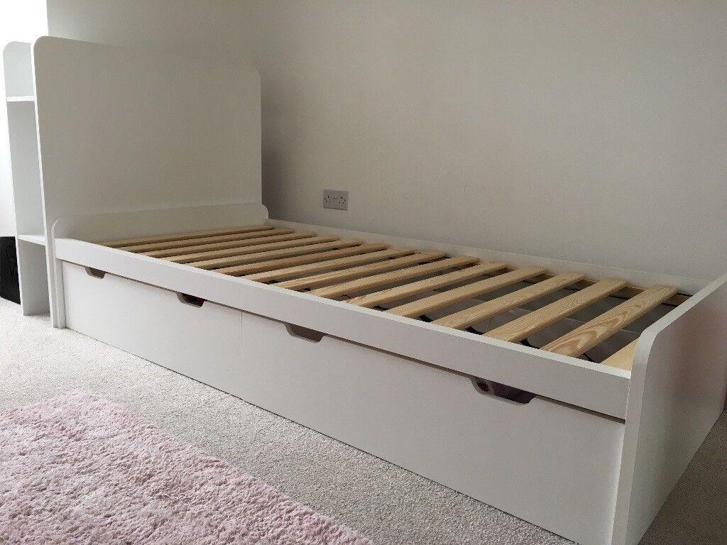 Used Next Compton White Divan Storage Single Bed Storage