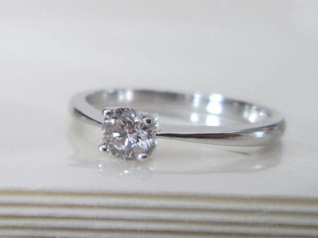 810eebf2b94 9ct White Gold .25ct Round Brilliant Cut Solitaire Diamond Engagement Ring L
