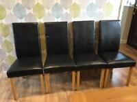 5 x Faux black leather dining chairs