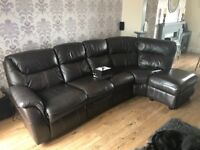 Leather right handed corner sofa with electric recliner