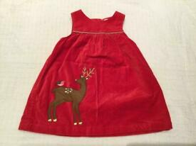 Baby Boden red velvet deer and robin pinafore age 6-12 months