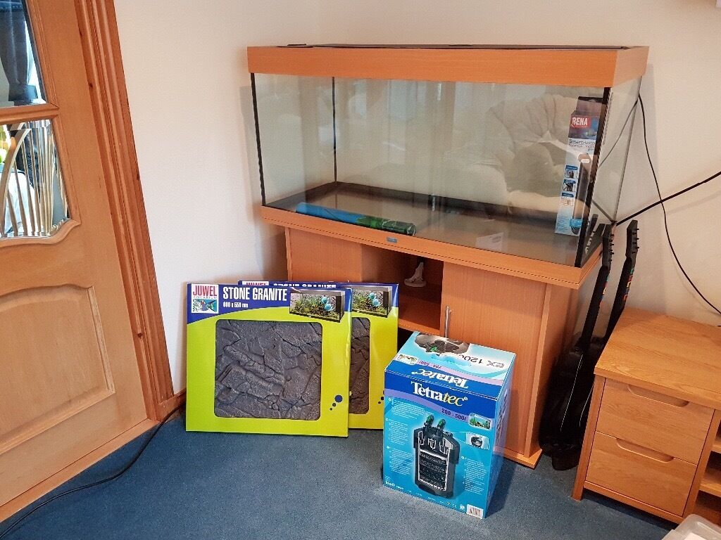 Juwel Rio 300 Fish Tank with Accessoriesin Aberlour, MorayGumtree - Juwel Rio 300 litre fish tank with Tetratec Ex1200 filter, Rena 300 watt SmartHeater and 2 Juwel Stone Granite structured backgrounds (unused). All in excellent condition. Can deliver within reasonable distance of Aberlour £350 ono May split if...