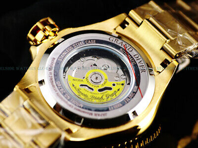 NEW Invicta Men 50mm SANDWICH CASE Grand Diver Automatic 18K Gold IP 300M Diver