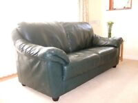 Dark green leather 3-seater sofa for sale.