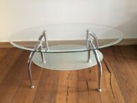Modern oval Coffee/Side table in glass & chrome