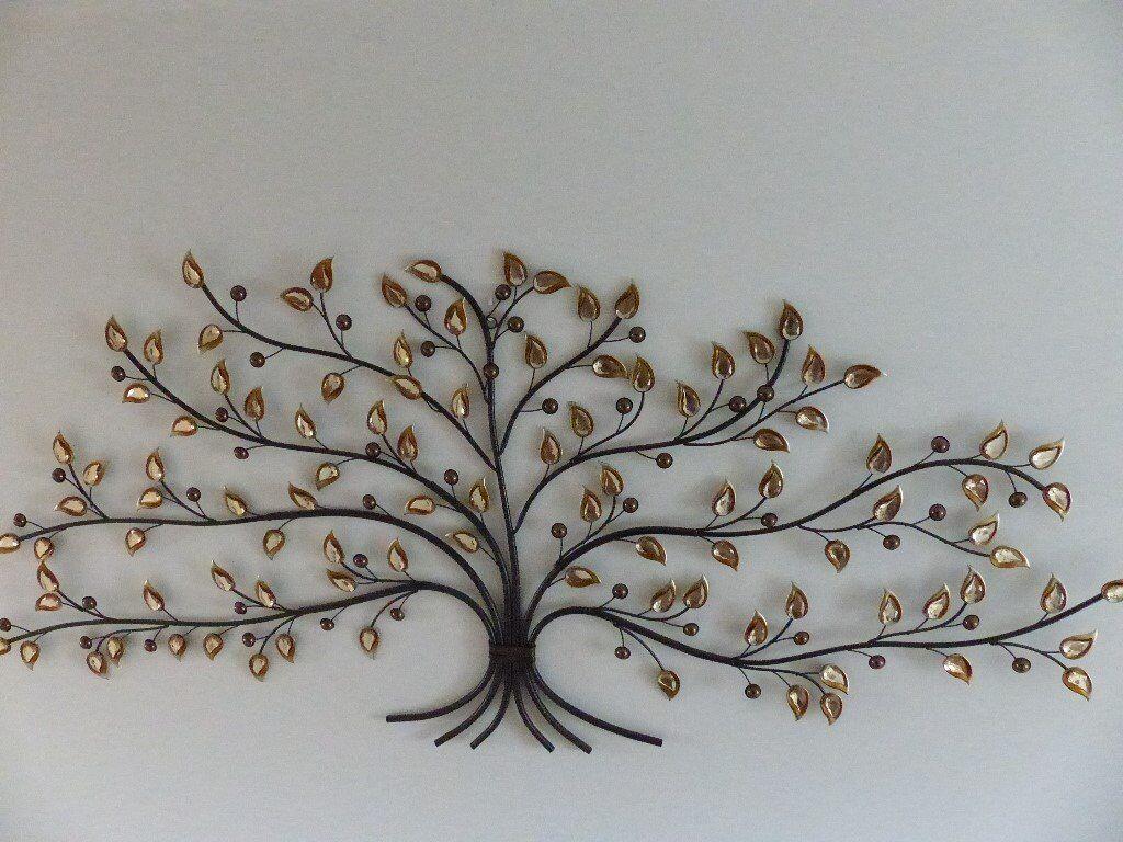Jewelled Amber Tree Wall Art Metal