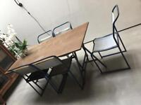 Vintage industrial metal and canvas chairs x 5