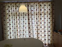 Lounge Curtains embroidered 2 pairs, tie back, wall hooks & 5 cushions