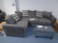 Brand New Fabric Corner Sofa With Tartan Cushions. Can Deliver