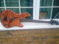 Cool and very hard to find Luna Tattoo short scale bass guitar with padded bag