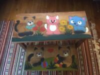 Carved and painted hardwood table and bench