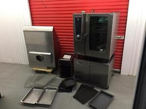 $45,000 rational combi oven , hood , cook & hold stand , like new !!