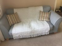 2x two seater blue DFS sofas