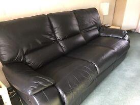 Black Italian leather electric lazy boy sofa