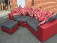 3 seater red leather/fabric settee