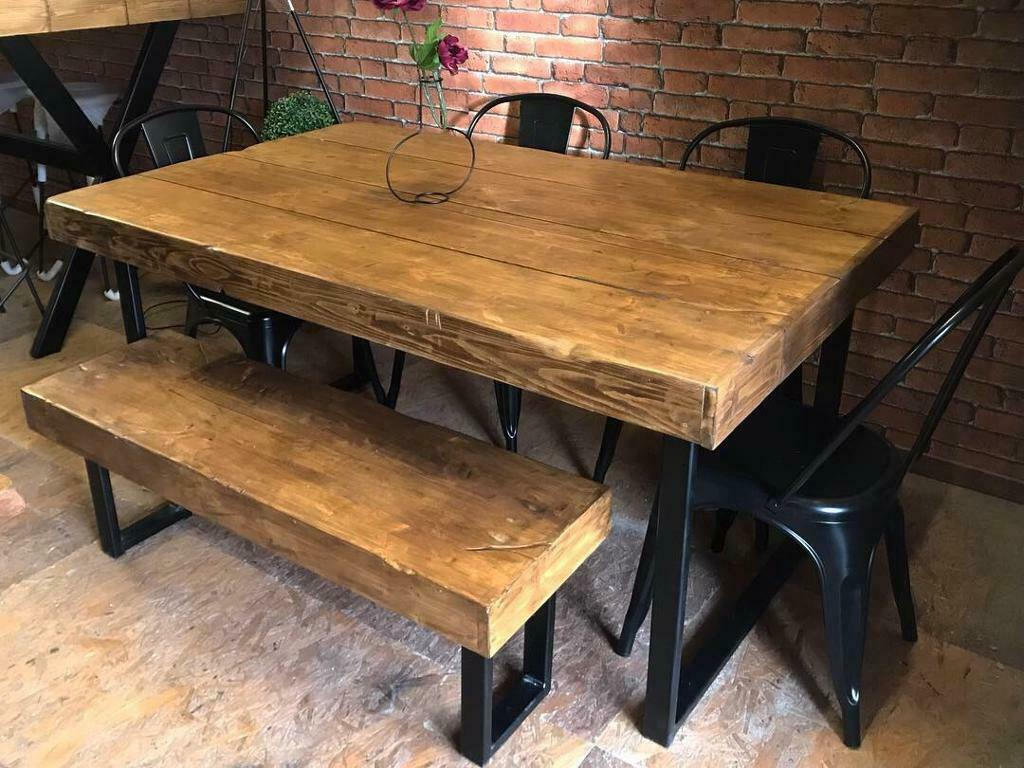 Industrial Style Kitchen Table And Bench - Trendyexaminer