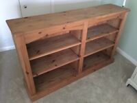 Solid pine double width bookshelf - 6 shelves, solidly made and in great condition