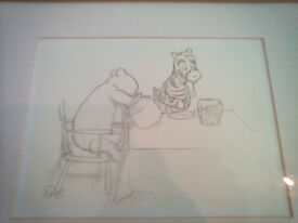 Original illustrated framed sketch of Winnie The pooh and Tigger
