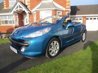 Peugeot 207CC (2009 09), metallic blue, FSH, excellent condition