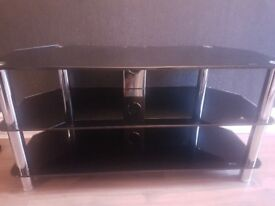 Heavy Black glass tv stand