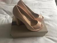 ZARA nude peep toe heels - with rose gold finish / size 39