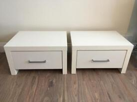 Two White Bedside Cabinets