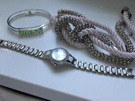 Necklace bracelet and watch