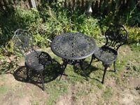 CAST ALUMINIUM GARDEN / PATIO SET --TABLE AND 2 CHAIRS --TULIPS DESIGN --