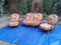 Ercol Fireside Evergreen Sofa & 2 Armchairs High Back. Vintage / Antique / Retro FREE LOCAL DELIVERY