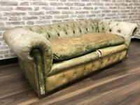 Small Chesterfield Club Sofa in Sun Bleached Green Leather