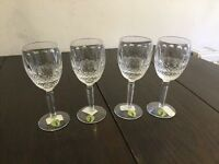 4 boxed Waterford Crystal tall Colleen claret glasses