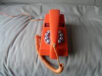 Orange push button retro style landline
