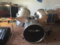 SOLD! 7 piece drum kit with stool and music stand, ideal from 6 years old to adult as adjustable
