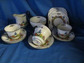 """Vintage/ Art Deco """"Kenley"""" New Chelsea Tea set 22 pieces"""