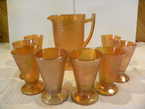 Marigold Carnival Glass Pitcher and Glass Set