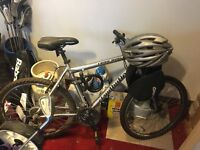 Silver Mountain/road (ish) Claud Butler bike to sell + helmet - USED ONCE