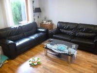 2 brown leather 3 seater sofas- can deliver in Inverness
