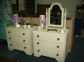 PAIR OF SHABBY CHIC OAK CHEST OF DRAWERS PAINTED CREAM
