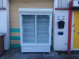 Commercial fridge double door drink display fridge sliding double glass door